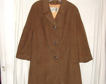 Vintage 50s Brown Cashmere Ladies Coat As Is Small
