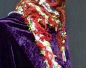 Scarf Thin Lariat Necklace Scarflet Cozy Skinny Glass Blown Bead Ends Fiber Art OOAK