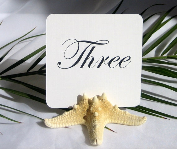Beach Wedding- Natural starfish table card holders- Set of 30 (RESERVED)