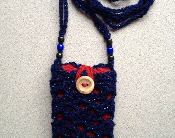Phone cosy and bag - blue and red
