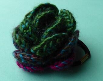 Crochet flower hair bobble