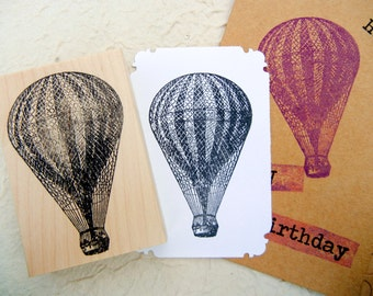 Hot Air Balloon Rubber Stamp // Steampunk // Handmade rubber stamp by BlossomStamps