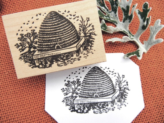 Bee Hive Skep V2 Rubber Stamp Photopolymer Handmade By