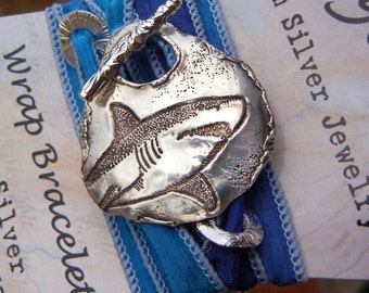 SHARKS4KIDS Donation Shark Jewelry, SHARK Silk Wrap Bracelet, Great White SHARK Jewelry, Silver Shark Jewelry, Donation Jewelry, Shark Tooth