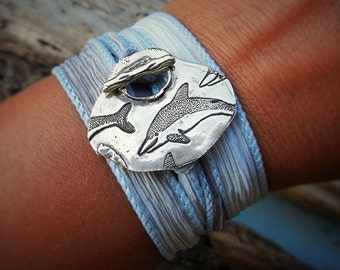 Dolphin Jewelry, Dolphins Bracelet, Summer Beach Jewelry, Sterling Silver Dolphin Silk Wrap Bracelet, Beach Nautical Summer Fashion Trends