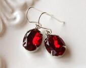 Ruby Red Rhinestone Earrings, Vintage Rhinestone Jewels, Old Hollywood Earrings Red Vintage Jewel  Sterling Silver