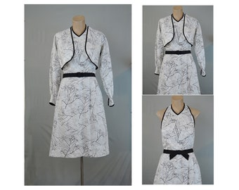 Vintage 1950s Halter Dress, Carolyn Schnurer 34 bust, Dress and Cropped Jacket, White and Black Novelty Print Cotton