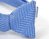 blue herringbone freestyle bow tie for the little guy