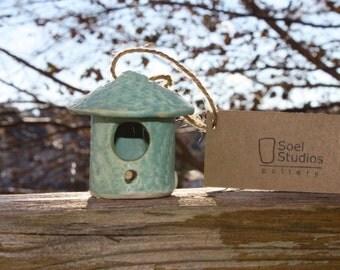 Teal Birdhouse Ornament