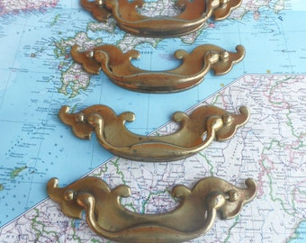 SALE! 4 wide vintage curvy shiny brass metal handles*
