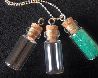 26 Clear Glass Fillable Tiny Bottle Vials Charms 27mm Pendants Miniature