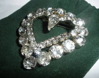 FREE SHIP, Huge rhinestone heart brooch, Pendant in the making, design phase