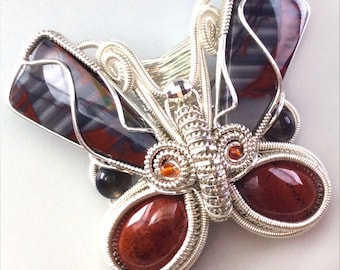 Banded Butterfly Pendant - N-0247