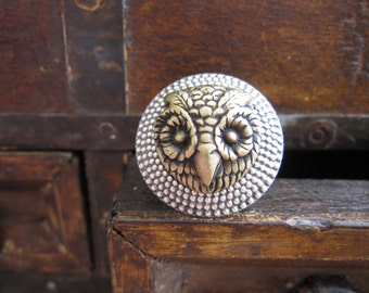 Owl Cocktail Ring, Statement Ring, Woodland Animal, Woodland Owl, Forest Animal, Owl Head, For Teen, Hammered Wide Band, Adjustable Ring