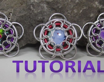 Chained Daisy - A Chainmaille Captured Cabochon Pendant Tutorial