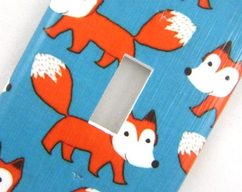 Light Switch Cover Switchplate -- Foxes on Blue Background