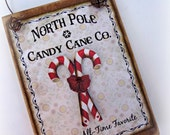North Pole Candy Cane Co. Wood Sign Ornament