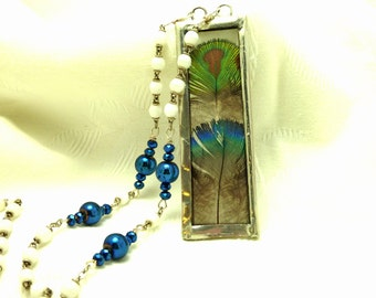 Peacock Feather Slide Glass Rosary Necklace