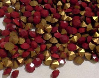 24 pp32 Cherry Red 2 Chatons 4.1mm Rhinestones 32pp Cherry Red ss17 Jewels Opaque Red Jewels 4mm Cherry Red Demi Fins
