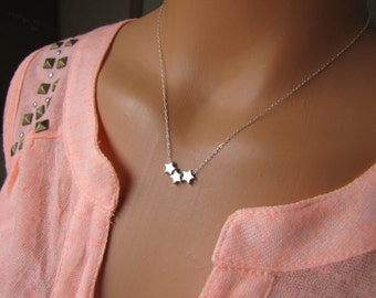 Three Wishes Necklace, Star Necklace, Three Stars, Sterling Silver Star Jewelry, Make A Wish Jewelry