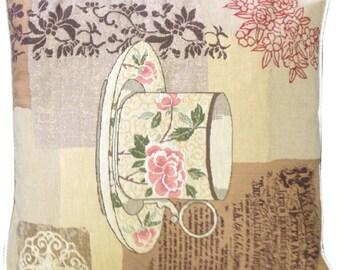 Choice Teas Floral Teacup Woven Tapestry Cushion Cover Sham