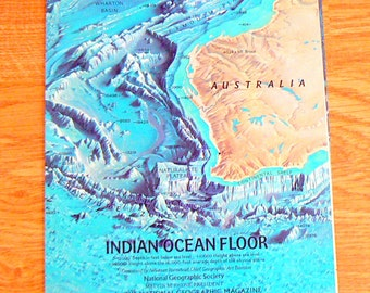1967 MAP Of Indian Ocean Floor By National Geographic Society
