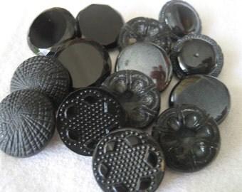 Lot Sets of 14 VINTAGE Black Glass BUTTONS BS14