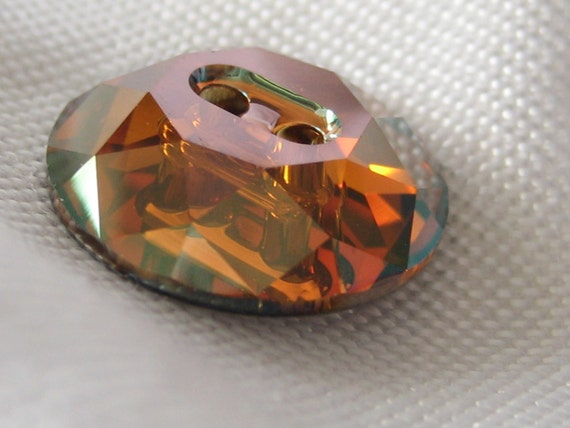 Iridescent copper swarovski crystal button by abandc on etsy - Swarovski crystal buttons ...