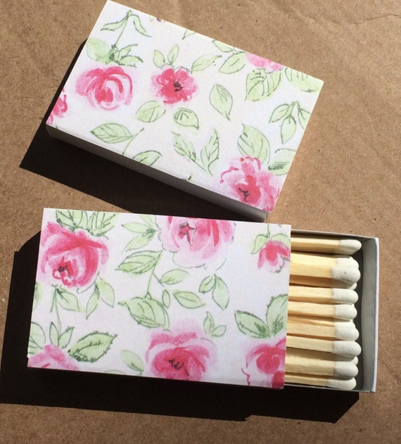 10 Matchbox Wedding Favors Vintage English Rose Garden White