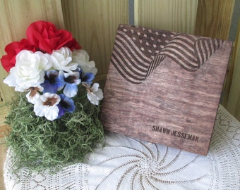 Rustic American Flag Keepsake Memento Box - Item 1629
