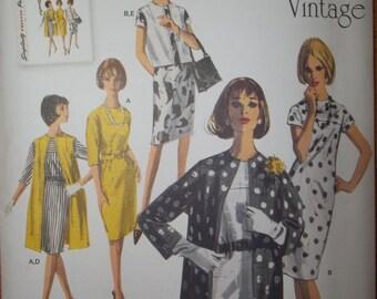 Mid Century Simplicity 1284  Dress, Coat, Vest Pattern Vintage 1960's Fashion