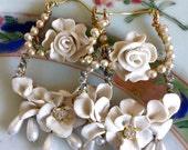 Lilygrace Ivory Roses Hoop Earrings with Vintage Rhinestones and Vintage Glass Pearls