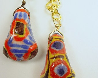 Pendant Necklaces with African Kiffa Beads with Choice of Gold Tone or Gunmetal Chain