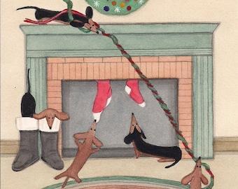 Dachshund (doxie) family on Christmas morning / Lynch signed folk art print