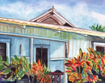Original Watercolor Painting from Kauai Hawaii Plantation House blue croton leaves cottage