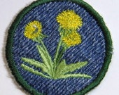 Dandelion Flower Iron on Patch, merit badge Upcycled from Blue Jeans