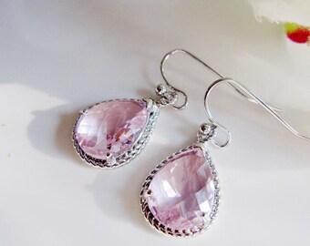 Pink Teardrop Earrings, Blush Pink, Silver, Dainty Earrings, Wedding Earrings, Light Pink, Bridesmaid Earrings, Gardendiva