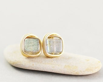 Labradorite Studs, Labradorite Posts, Gold Post Earrings, Square Stone Studs