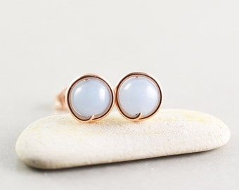 Blue Studs, Rose Gold Earrings, Angelite Posts, Bridesmaid Gift