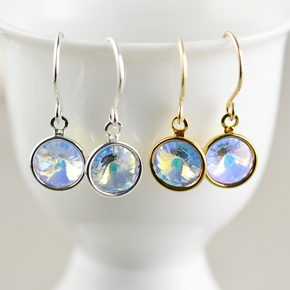 Crystal Disc Dangle Earrings, Holiday Drop Earrings, WInter Earrings, Disco Earrings
