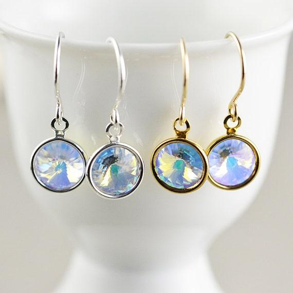 Crystal Disc Dangle Earrings, Holiday Drop Earrings, WInter Earrings, Disco Earrings