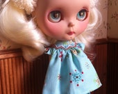 Hand Smocked Embroidered Snowy Nights Pyjamas for Blythe Doll in Blue FREE SHIPPING