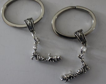 Sterling 3D HUSKY SLED DOGS Key Ring, Key Chain - Wintersports, Dog Sledding