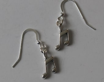 Sterling Silver MUSICAL EIGHT NOTES Earrings  - French Earwires -  Arts, Musician