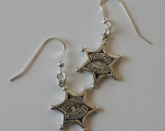 Sterling Silver DEPUTY SHERIFF Earrings - Profession, Law