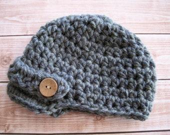 Crochet Baby Hat, Crochet Baby Boy Hat, Baby Newsboy Hat, Boy Newsboy Hat, Baby Beanie, Boy Beanie, Newborn Hat, Infant Hat Hat for Baby Boy