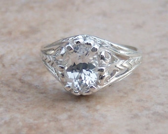 1.75 ct Lab White Sapphire Oval Sterling Silver Filigree Ring, Cavalier Creations