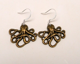 Steampunk earrings. Octopus earrings.