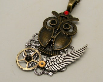 Steampunk jewelry owl necklace pendant.