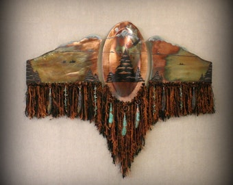 Raku Mixed Media Wall Piece, Large with Eagle, Evergreens, Mountains Copper, Gold Metallic and Iridescent Colors